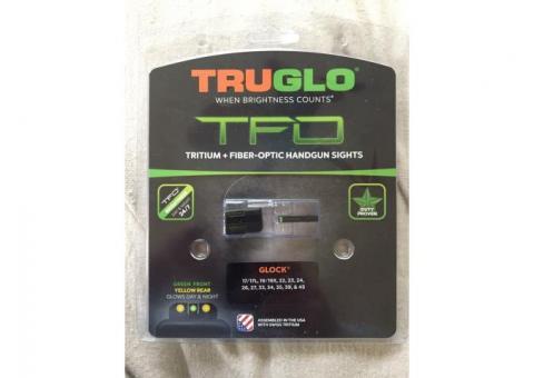 TruGlo TFO Tritium Fiber Optic Glock Handgun Sights Yellow Rear, Green Front Fits 17/17L, 19/19x, 22